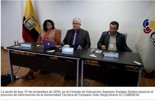 La Universidad Técnica de Cotopaxi será intervenida